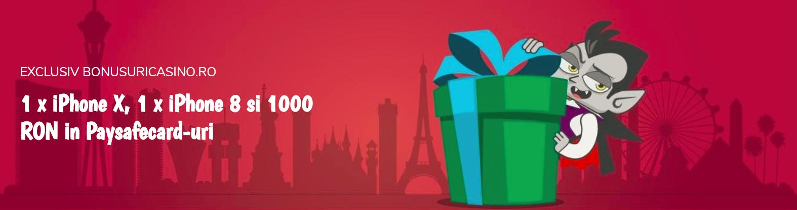 EXCLUSIV: Castiga 1 iPhone X, 1 iPhone 8 si 1000 RON in Paysafecard cu VladCazino!