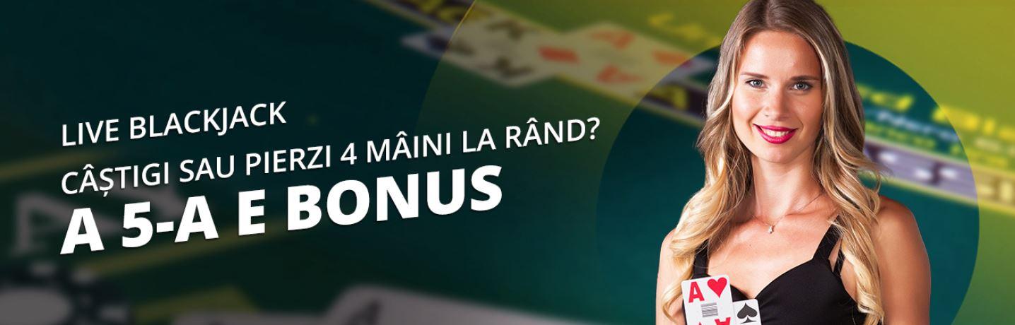 A cincea mana e bonus la Live Blackjack de la eFortuna