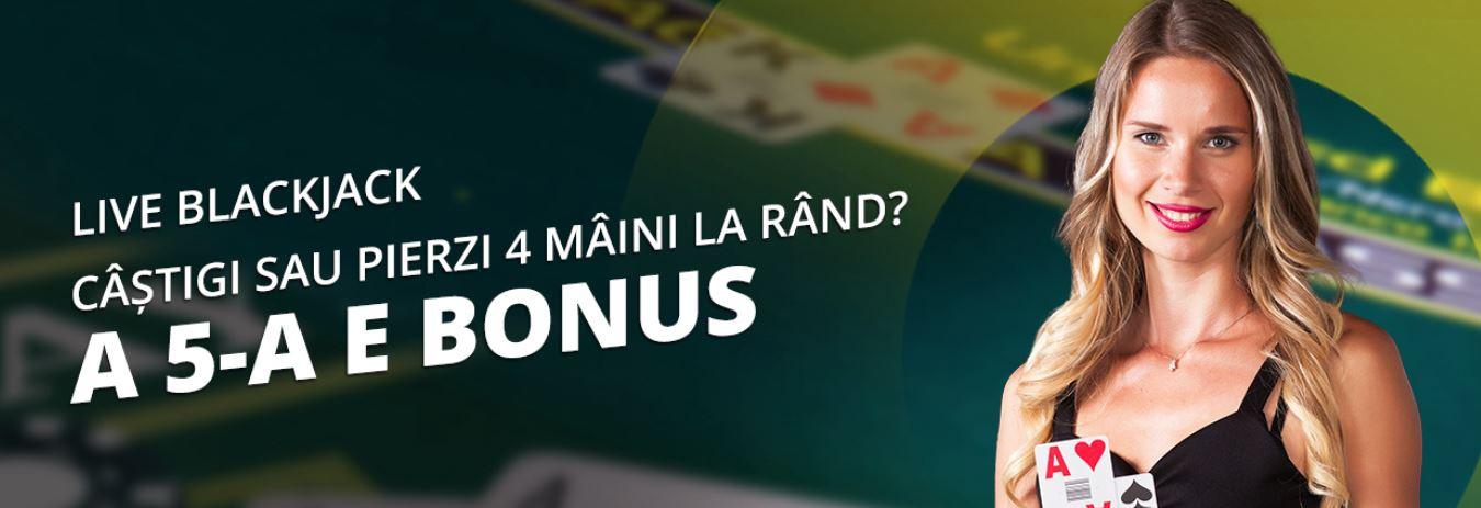 A 5-a mana e bonus la Blackjack Live de la eFortuna