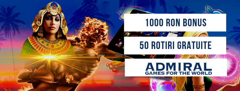 50 rotiri gratuite si 1000 RON bonus la Admiral Casino!
