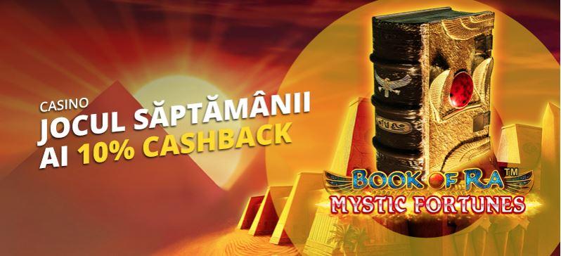 eFortuna iti ofera 10% cashback la Book of Ra Mystic Fortunes