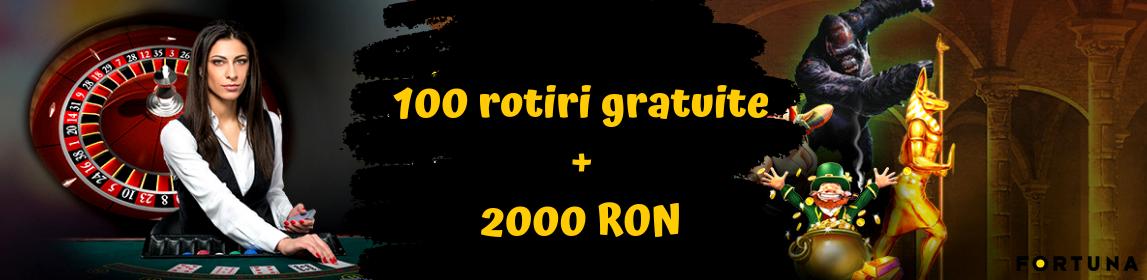 EXCLUSIV: 100 rotiri gratuite si pana la 2000 RON bonus de la eFortuna