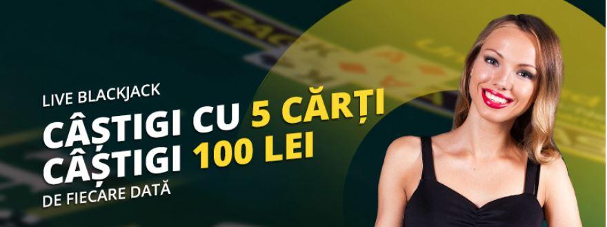 Castigi cu 5 carti si primesti 100 lei la Blackjack Live