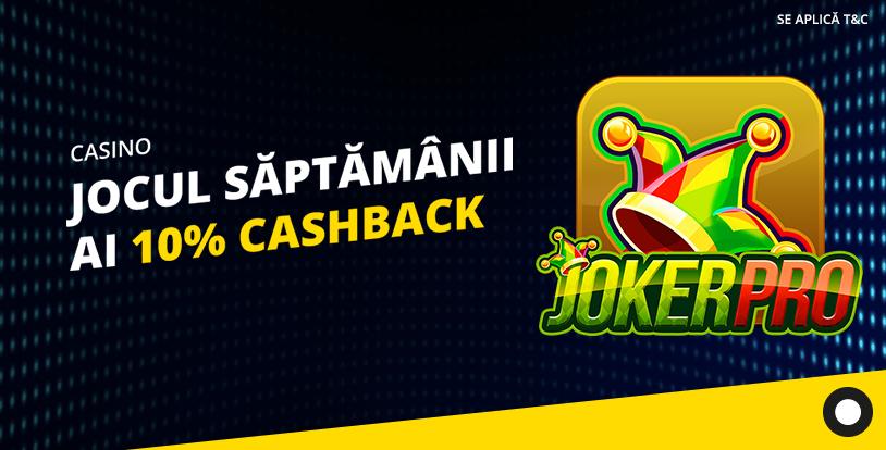 10% cashback la Joker Pro de la eFortuna