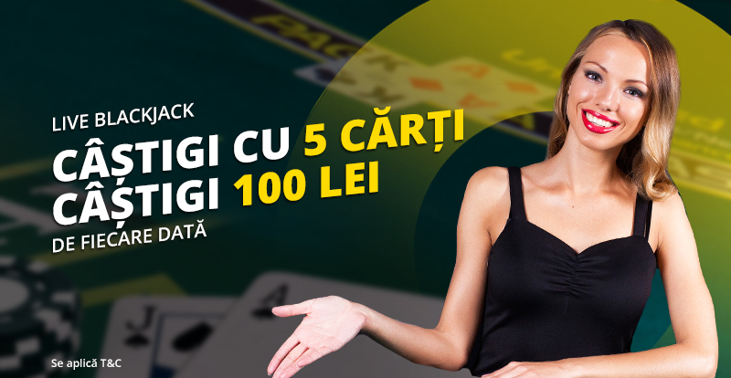 Castigi cu 5 carti si primesti 100 lei la Blackjack Live de la eFortuna